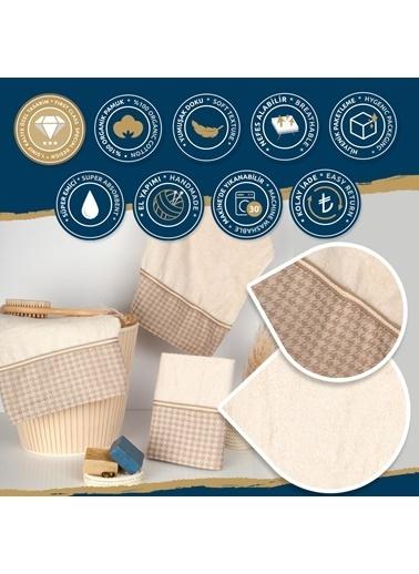 Nazik Home Genova Şerit Desenli 3'lü Havlu Set (El + Yüz + Banyo Havlusu) %100 Pamuk Bej